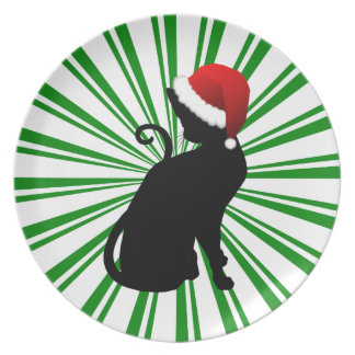 Santa Cat with Green Stripes Plate