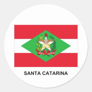 Santa Catarina, Brazil Flag Round Sticker