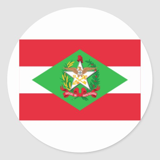 Santa Catarina, Brazil Flag Round Stickers