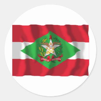 Santa Catarina, Brazil Waving Flag Classic Round Sticker