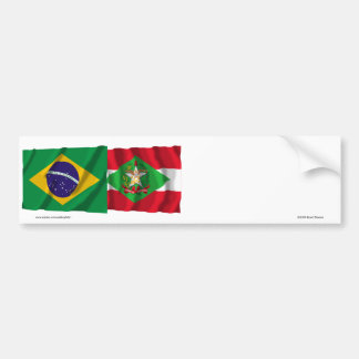 Santa Catarina & Brazil Waving Flags Bumper Sticker