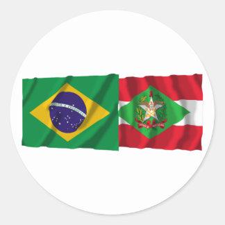 Santa Catarina & Brazil Waving Flags Round Stickers
