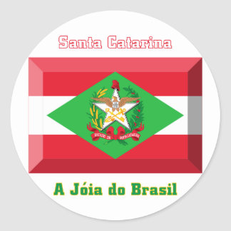 Santa Catarina Flag Gem Round Sticker