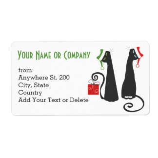 Santa Cats Christmas Address Sticker Shipping Label