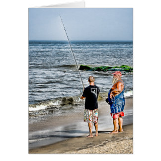 Santa Checking Out Rehoboth Fisher... - Customized Greeting Card