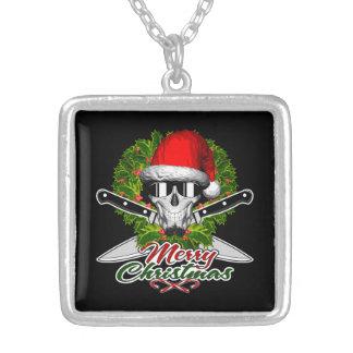 Santa Chef Skull Square Pendant Necklace