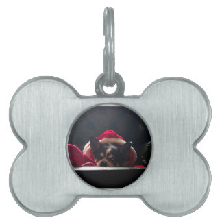 Santa Chihuahua Christmas Pet Name Tag