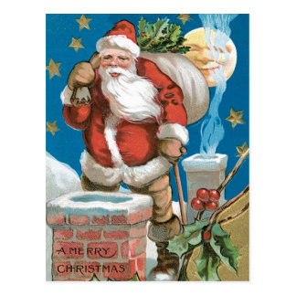 Santa, chimney, moon, and stars postcard