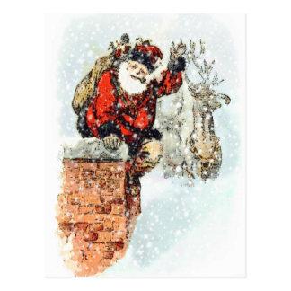 Santa Chimney Postcard