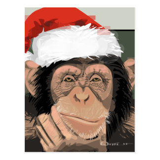 Santa Chimp Postcard