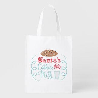 Santa chocolate chip cookies with milk reusable grocery bag