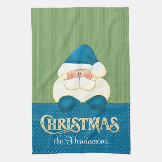 Santa Christmas Blue and Green Cook's Tea Towel