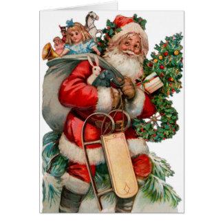 Santa Christmas Card With Matching Postage