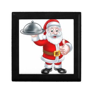 Santa Christmas Cartoon Holding Food Platter Small Square Gift Box