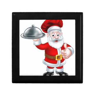 Santa Christmas Chef Holding Plate of Food Gift Box