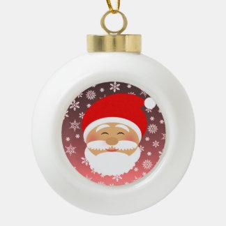 Santa Christmas Cute Cartoon Happy Colorful Snow Ceramic Ball Christmas Ornament