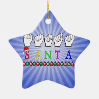 SANTA CHRISTMAS FINGERSPELLED ASL SIGN CHRISTMAS ORNAMENT