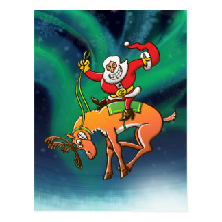 Santa Christmas Rodeo Postcard
