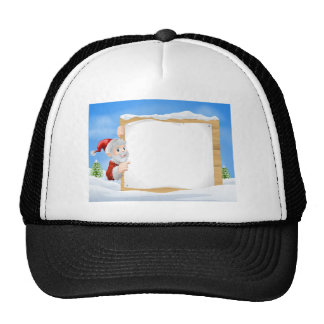 Santa Christmas Sign Snow scene Hat