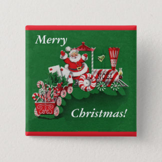 Santa Christmas Train Button