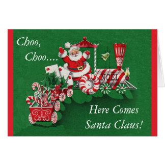 Santa Christmas Train Greeting Card