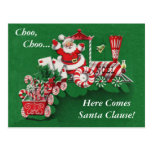 Santa Christmas Train Postcard