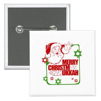 Santa Christmukkah 15 Cm Square Badge