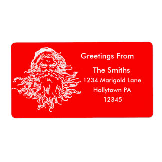 Santa Claus Address Labels Red and White