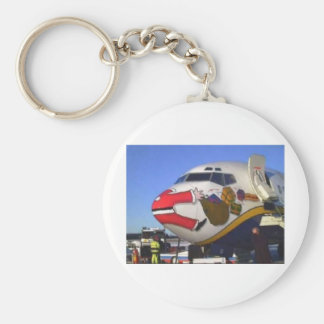 SANTA CLAUS AIRLINER MID-AIR BASIC ROUND BUTTON KEY RING