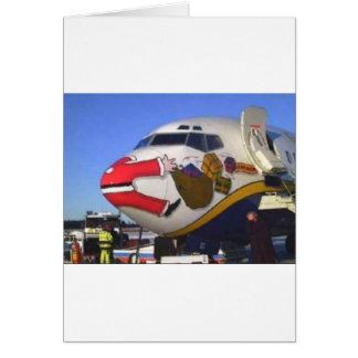 SANTA CLAUS AIRLINER MID-AIR GREETING CARDS