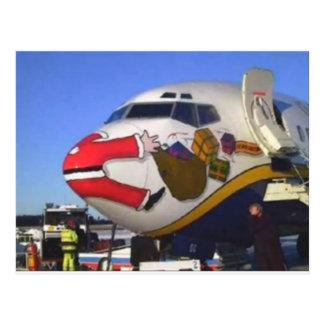 SANTA CLAUS AIRLINER MID-AIR POSTCARD
