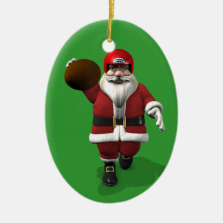 Santa Claus American Football Player Christmas Ornament