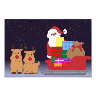 Santa Claus and 2 reindeer illustration Photograph