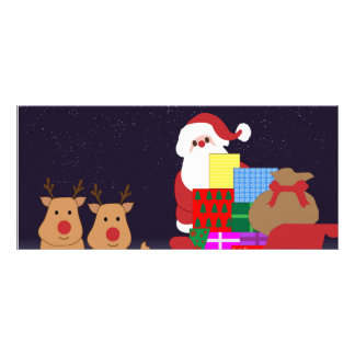 Santa Claus and 2 reindeer illustration Full Color Rack Card