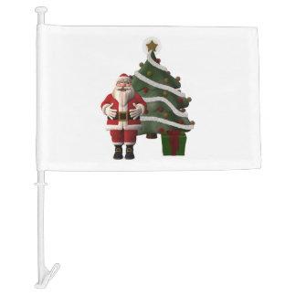 Santa Claus and a Christmas tree Car Flag