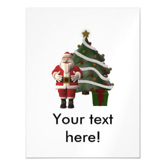 Santa Claus and a Christmas tree Magnetic Invitations