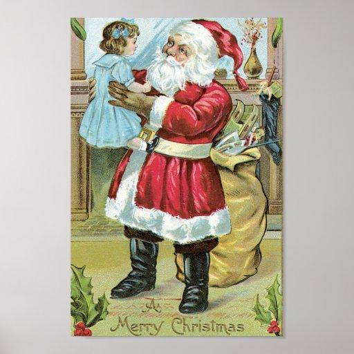 Santa Claus and Baby Poster