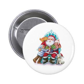 Santa Claus and Children, Cat, Dog Button