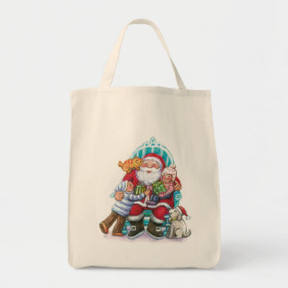 Santa Claus and Children, Cat, Dog Grocery Tote Bag