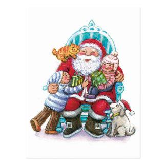 Santa Claus and Children, Cat, Dog Postcard