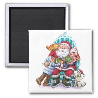 Santa Claus and Children, Cat, Dog Square Magnet