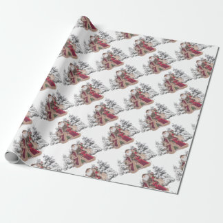 Santa Claus and Fawns Wrapping Paper