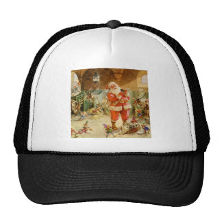 Santa Claus and his Elves in the Reindeer Stable Mesh Hats