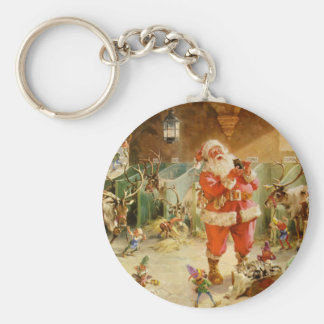 Santa Claus and his Elves in the Reindeer Stable Key Ring