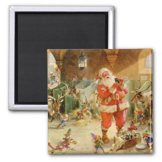 Santa Claus and his Elves in the Reindeer Stable Square Magnet