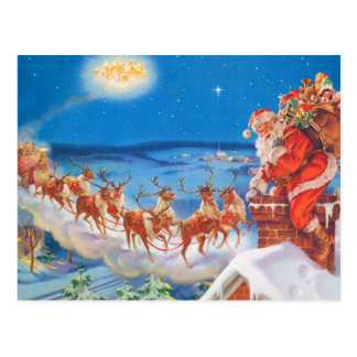 Santa Claus and his Mighty Reindeer Postcard