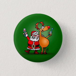 Santa Claus and his Reindeer 3 Cm Round Badge