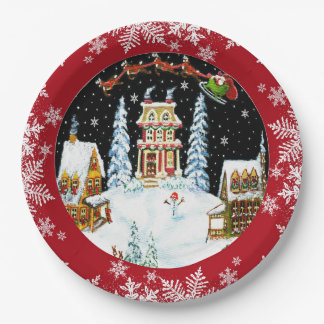 Santa Claus and his reindeer paper plates