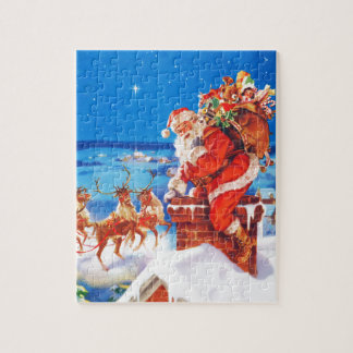 Santa Claus and his Reindeer Up on the Rooftop Jigsaw Puzzle