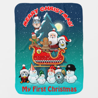 Santa Claus And His Sleigh By The Christmas Tree Baby Blankets